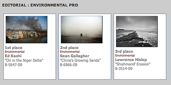 1st, 2nd and 3rd places in the Editorial: Environmental Pro Category