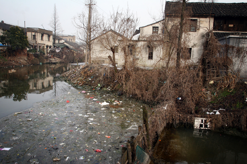 Water pollution in the ancient water town of Wuzhen.