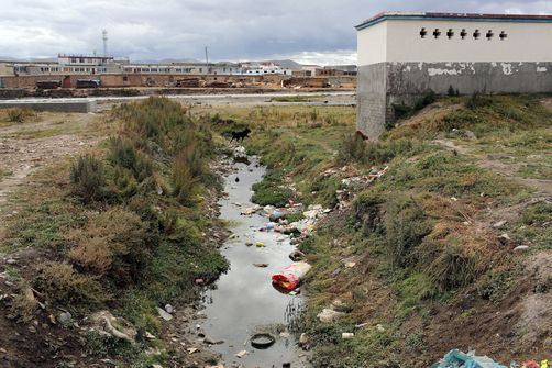 A polluted waterway in a small town on the Tibetan Plateau.