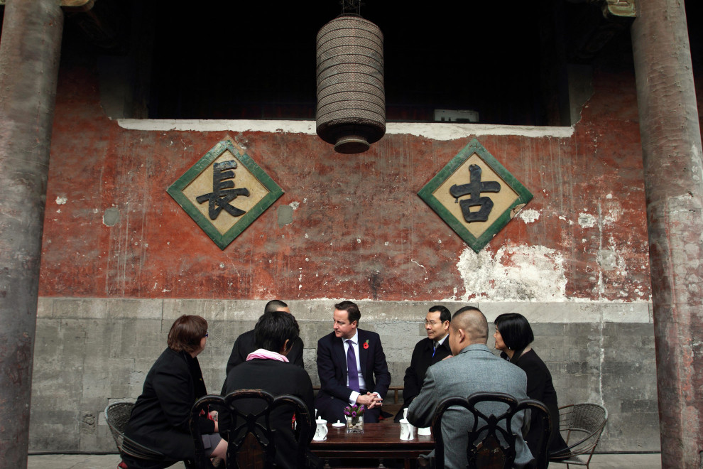 British Prime Minister David Cameron meets with young entrpreneurs in the hutongs of Beijing, 2010.