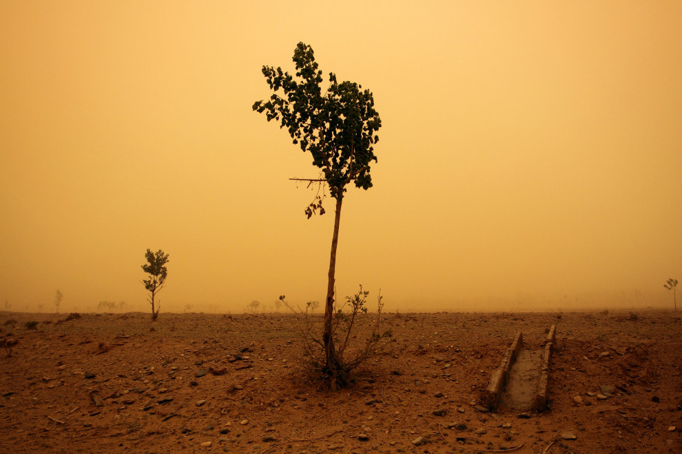 A severe sandstorm in central Ningxia province shrouds the land in a surreal yellow, almost orange, light. The already dry and degraded topsoil is easily picked up when the spring winds start to blow.