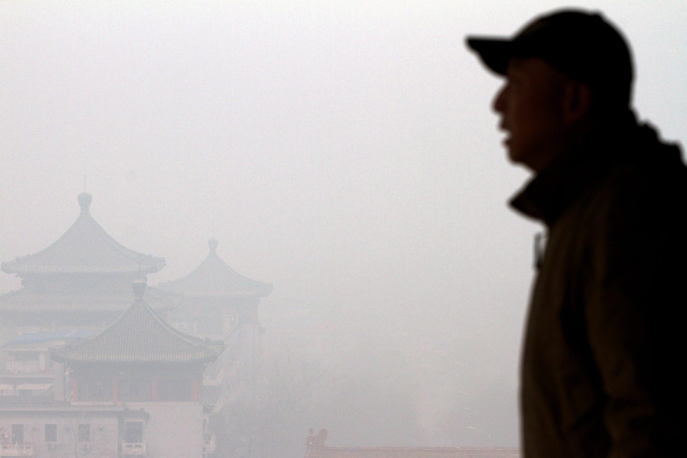Air pollution obscures the view from Coal Hill in central Beijing, China.