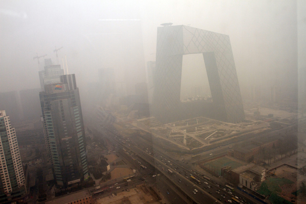 view of air pollution over the CCTV building in Beijing, China.