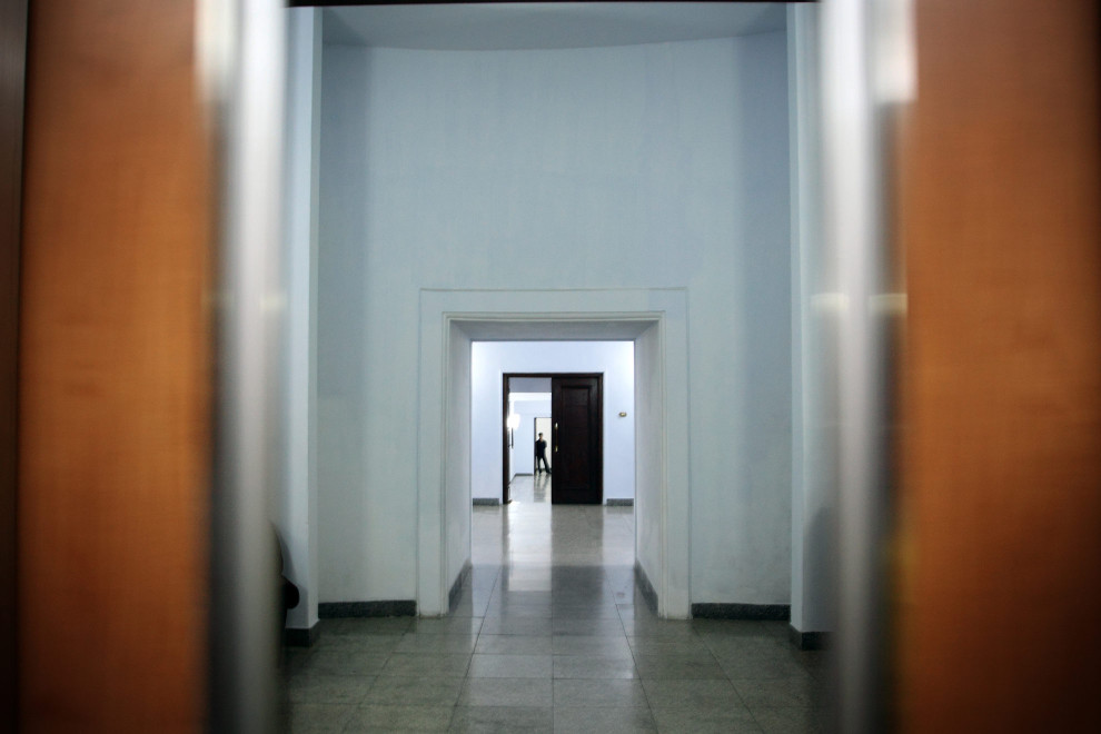 A man stands in the corridors underneath the Juche Tower, in central Pyongyang.