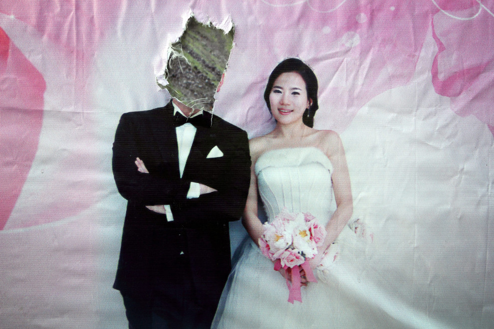 An advertisement for weddings in the town of Yanji, close to the border with North Korea.