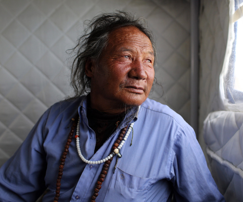 A Tibetan nomad in the Amdo region of the Tibetan Plateau.