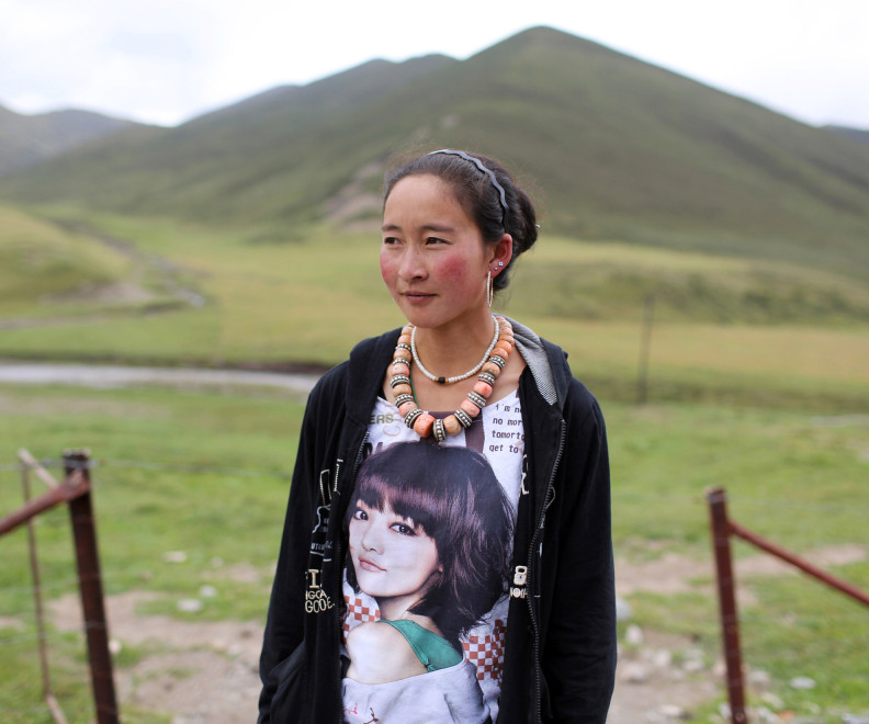 A young Tibetan woman in the Kham region of the Tibetan Plateau.