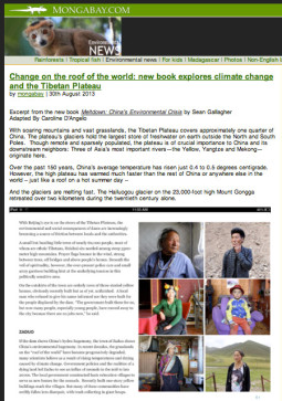 Mongabay: Change on the roof of the world: new book explores climate change and the Tibetan Plateau