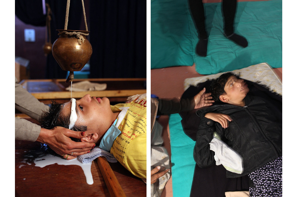 (Left) A disabled boy receives special therapy aimed to relax him, as part of therapeutic treatment at the Baba Farid Center for Special Children in Faridkot, Punjab. (Right) A young girl undergoes yoga treatment at the same centre.