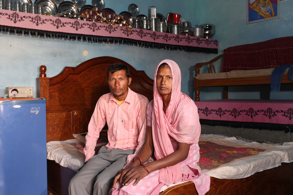 Shinda Singh (left) sits with his wife Jaswanda Kaur, in their bedroom in the village of Teejaruhela. They are one of many childless couples, as a result of infertility as the man's sperm count is zero. It is believed that excessive pesticide use in the region over the past 30-40 years has led to the accumulation of dangerous levels of toxins such as uranium, lead and mercury which are contributing to increased health problems in rural communities.