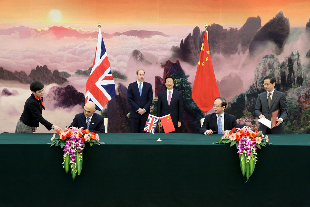 HRH The Duke of Cambridge and Vice President Li Yuanchao witness a signing ceremony between the United Kingdom's Secretary of State for Culture, Media and Sport, Sajid Javid MP and China's Vice Minister for Culture, Ding Wei, marking the start of the 2015 UK-China Year of Cultural Exchange.