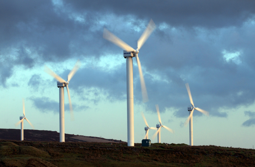 A wind farm on the highlands of northern England.