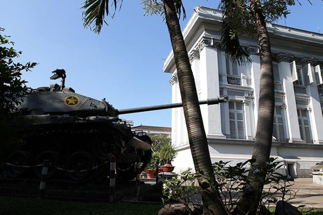 A tank sits outside the Ho Chi Minh City Museum.