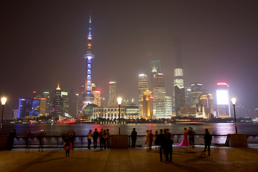 The distinctive Pudong skyline at night in Shanghai.
