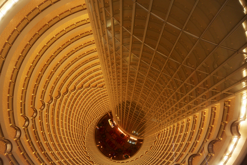 The main lobby of the Jinmao Tower in Shanghai.