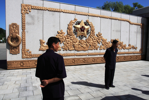Visitors at the Kumsusan Palace of the Sun, a mausoleum where the embalmed remains of former leader Kim Il-Sung and Kim Jong-Il lie.