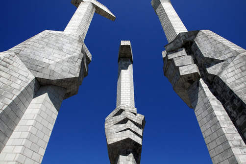 The Monument to the Foundation of the Worker's Party in central Pyongyang.