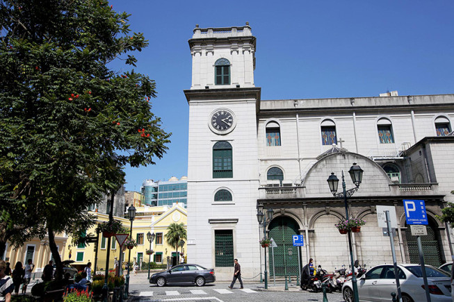 The exterior of the Macao Cathedral in the historic center of Macao.