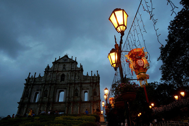 The ruins of Saint Paul's Church, a famous landmark in the historic center of Macao.
