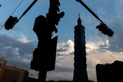 The Taipei 101 Tower at sunset.