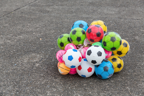 Colorful footballs in a park inTaipei.