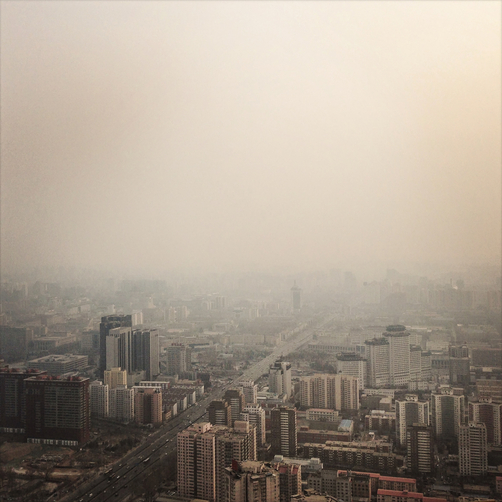 Air pollution hangs over central Beijing.