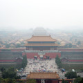 A heavy haze of air pollution hanging over the Forbidden City.