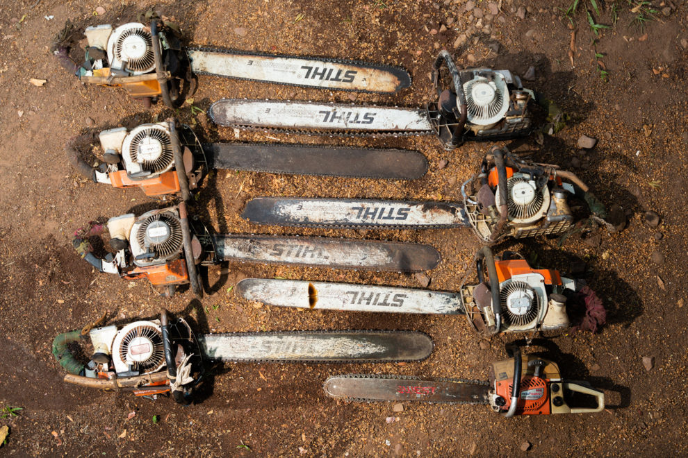 Chainsaws confiscated from loggers in the Phnom Tnout Phnom Pok Wildlife Sanctuary, in northern Cambodia. Forest clearance is fuelled by demand for agricultural land and high value species of tree for the Asian furniture market.